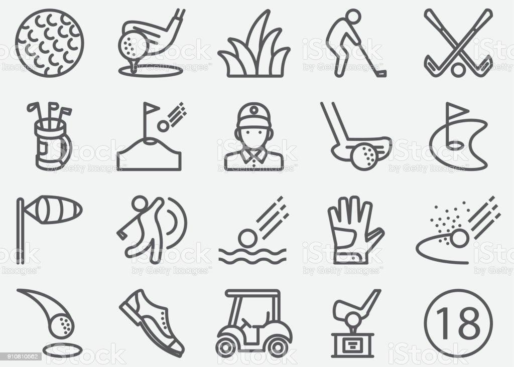 Golf Sport Line iconos - ilustración de arte vectorial