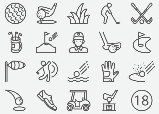 ilustrações de stock, clip art, desenhos animados e ícones de golf sport line icons - golf