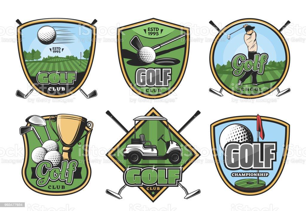 Golf sport club retro badges set. Golfer player on green golf course...