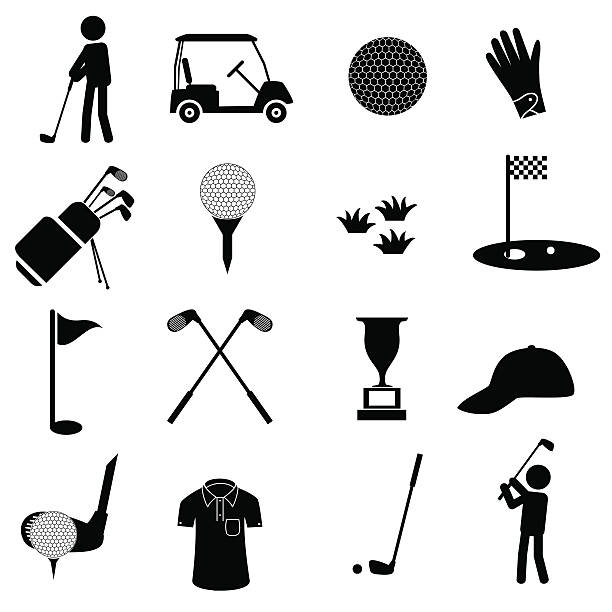 golf sport simple black icons set eps10 vector art illustration