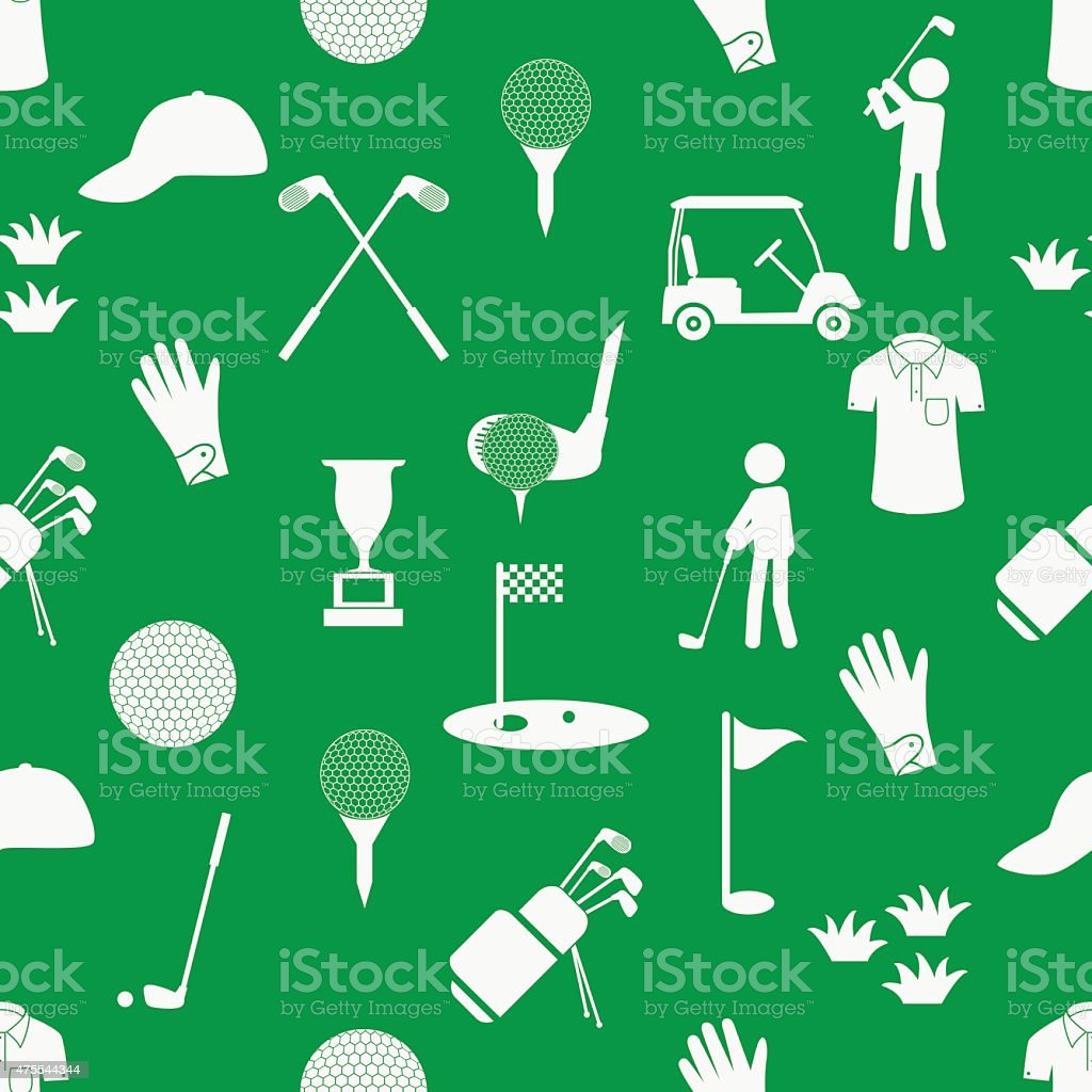 golf sport simple white and green seamless pattern eps10