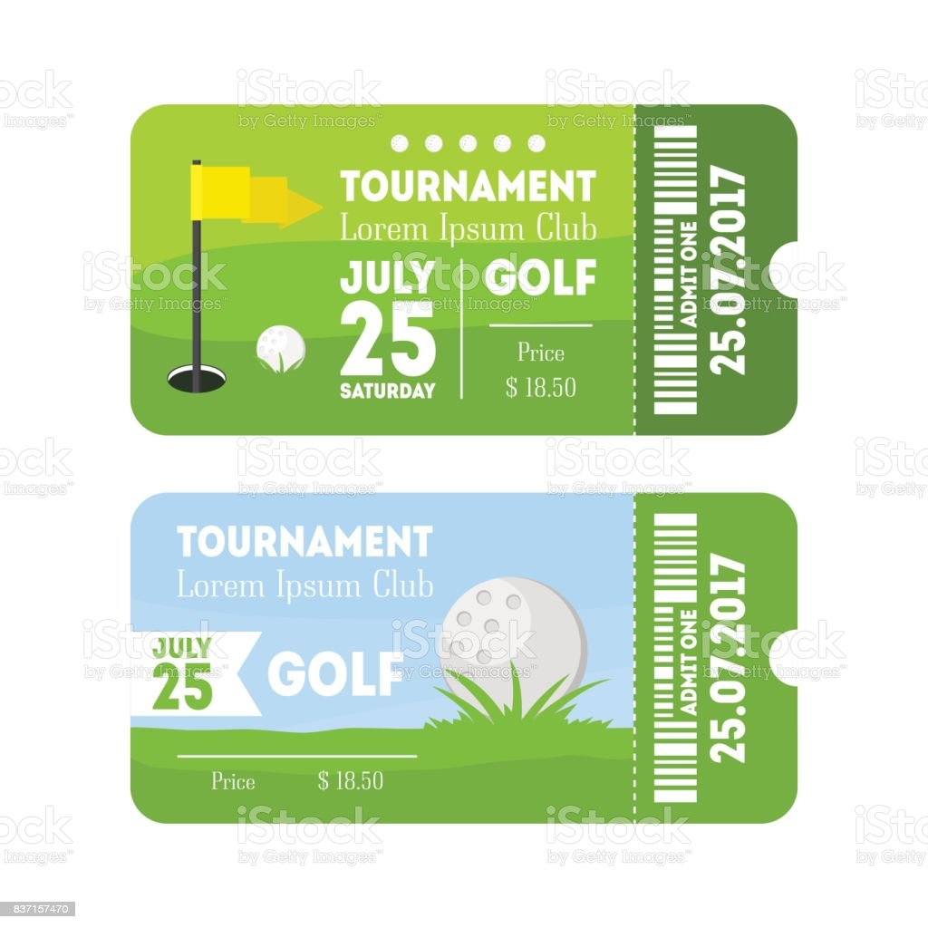 Golf deporte billete conjunto. Vector de - ilustración de arte vectorial