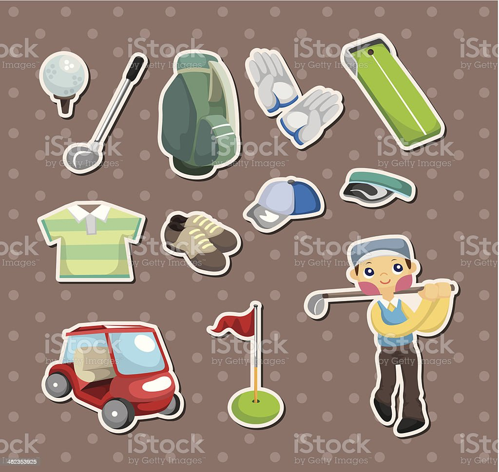 golf stickers vector art illustration