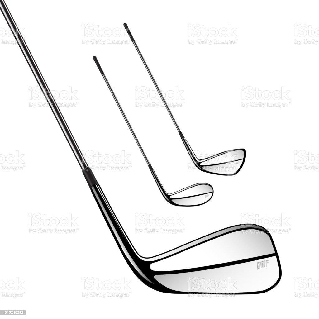 Ilustración de Palos De Golf Aislado Sobre El Fondo Blanco Vector De ...