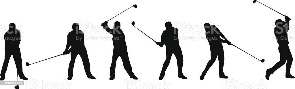 Golf Swing Sequence vector art illustration
