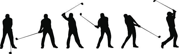 Golf Swing Sequence Vector illustration of a complete golf swing. This silhouette is an ai10 eps file. sequential series stock illustrations