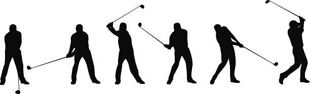 golf huśtanie się sekwencja - sekwencja obrazu stock illustrations