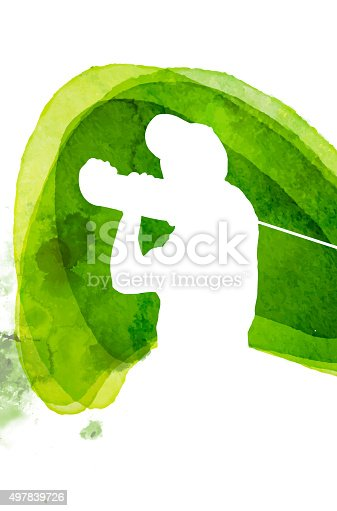 Watercolor Golf Symbol, this illustration is made in layers and stain on left side can be easly removed.