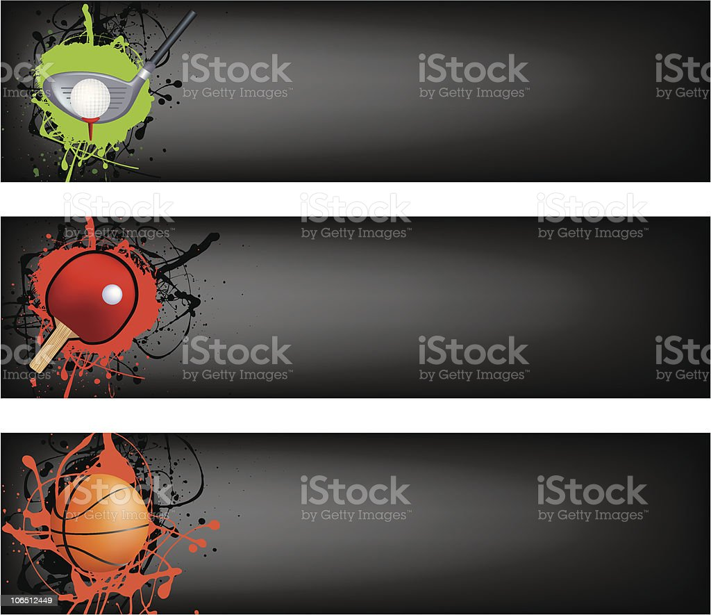 golf, tabel tennis and basketball black banner royalty-free stock vector art