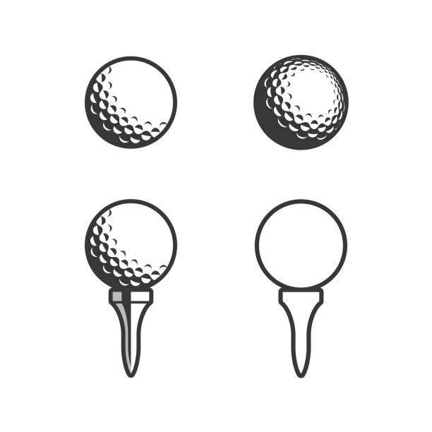Golf Tee and ball Icon Golf Tee and ball Icon golf ball stock illustrations