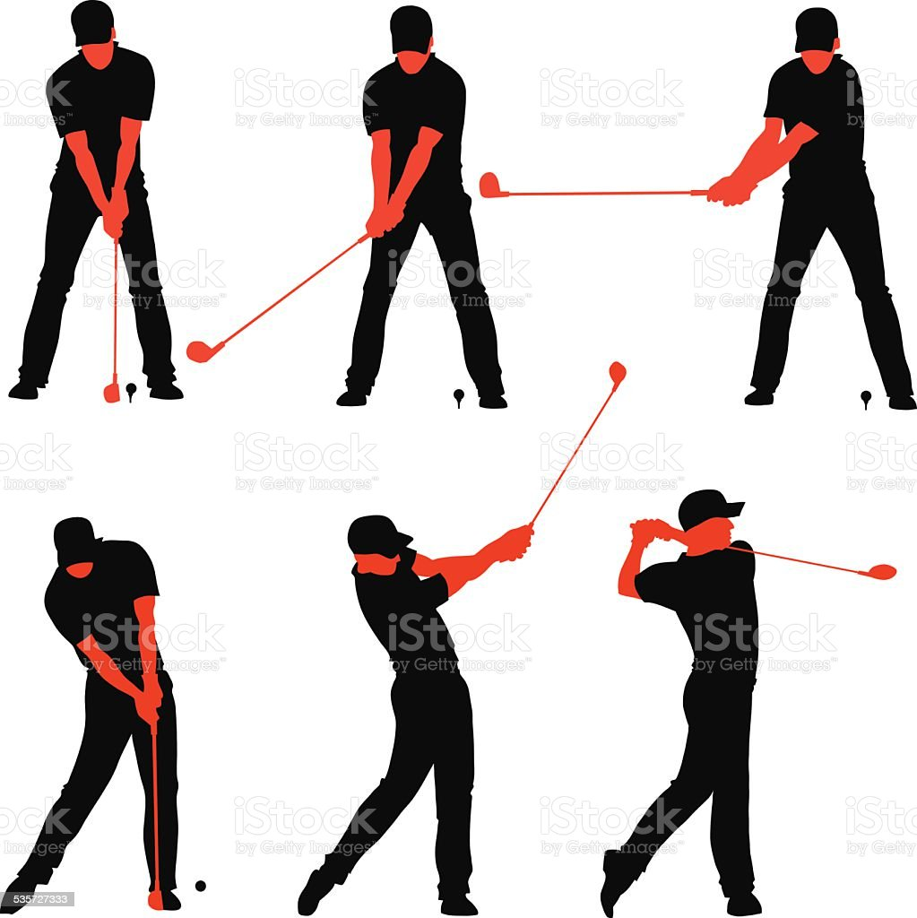 Golf Teeing Off Sequences vector art illustration