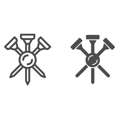 Golf tees line and solid icon, equipment and sport concept, Golf crossed tee sign on white background, three golf tees icon in outline style for mobile concept and web design. Vector graphics.