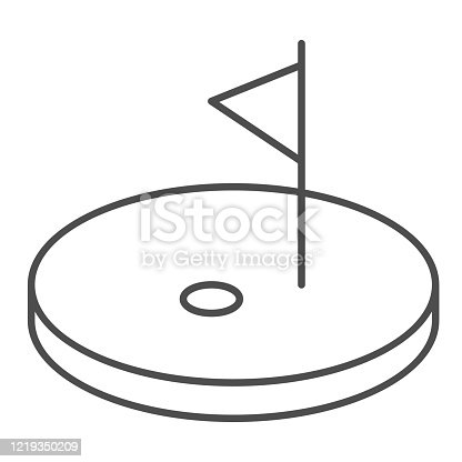 Golf thin line icon. Golf course with flag illustration isolated on white. Golfing logo outline style design, designed for web and app. Eps 10