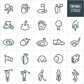 A set of golf icons that include editable strokes or outlines using the EPS vector file. The icons include people golfing, golf, golf tee, clapping, gold corse, golf hole, golf cart, fairway, golfing glove, ball on tee, golf ball near cup, sandtrap, golf shoe, driver, putter, golf clubs, range finder, golfers hitting ball, golfers driving a golf ball and golfers putting to name a few.