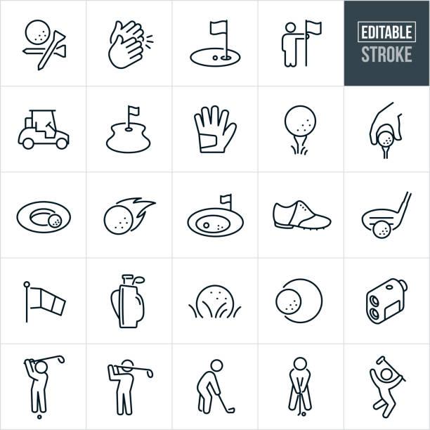 ilustrações de stock, clip art, desenhos animados e ícones de golf thin line icons - editable stroke - golf