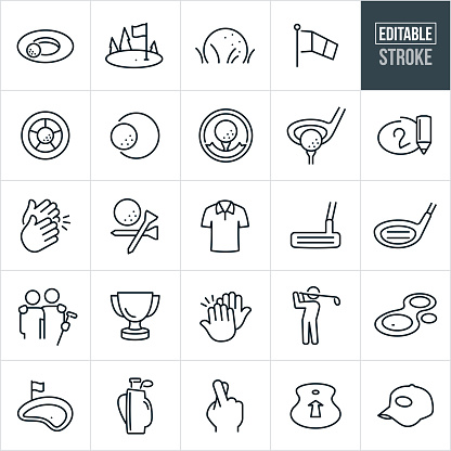 A set of golf icons that include editable strokes or outlines using the EPS vector file. The icons include a golf ball near cup, golf green with golf ball and hole, golf ball sitting in the grass, wind sock, golf ball at the bottom of the cup, golf ball on the edge of the cup, golf award, driver ready to hit golf club, score card, clapping hands, golf ball and tees, golf polo shirt, golf putter, golf driver, two friends with arms around shoulders, trophy, high five, golfer swinging golf club, golf green, golf clubs in golf bag, fingers crossed, driving range, and a golf hat.