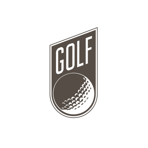 Golf tournament emblem or label -  golf ball on retro sticker Golf tournament emblem or label -  golf ball on retro sticker golf logo stock illustrations