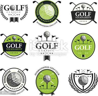Vector of green and grey color golf tournament emblems. EPS ai 10 file format. Global color.