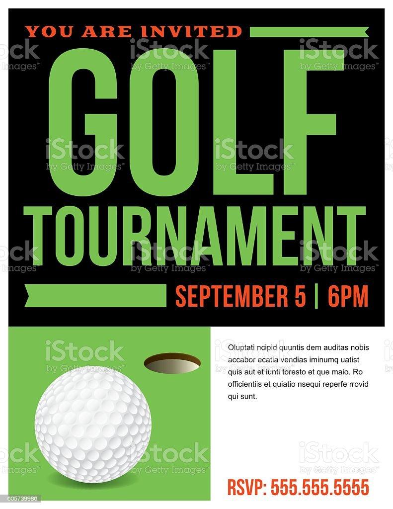 Golf Tournament Flyer Invitation Illustration vector art illustration