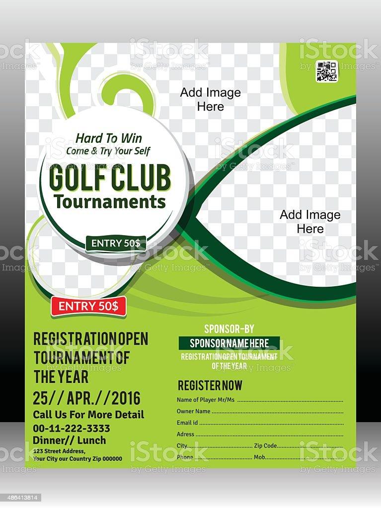 golf tournament flyer template design illustration stock