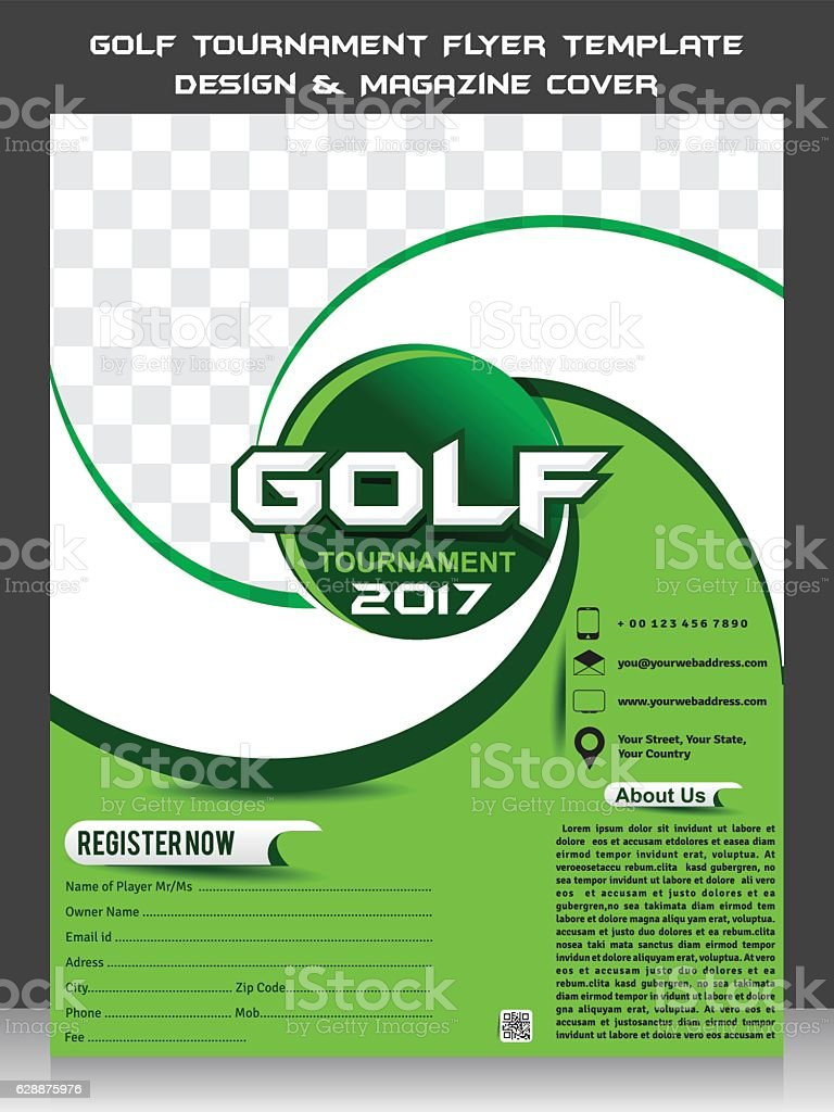 Golf Tournament Flyer Template Design U0026 Magazine Cover Royalty Free Stock  Vector Art