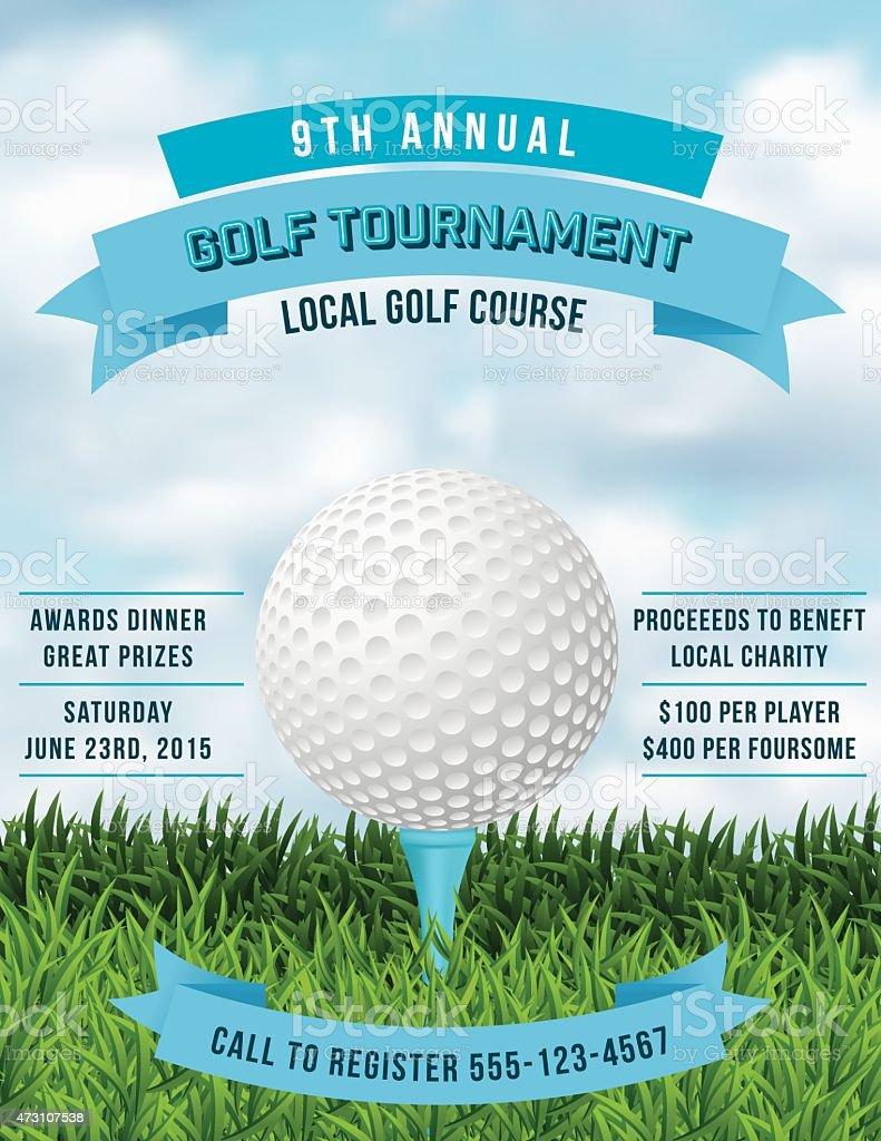 Torneo de Golf invitación Flyer con césped y de bola  - ilustración de arte vectorial