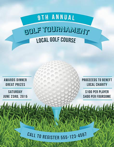ilustrações, clipart, desenhos animados e ícones de torneio de golfe de convite de grama e com bola  - golfe