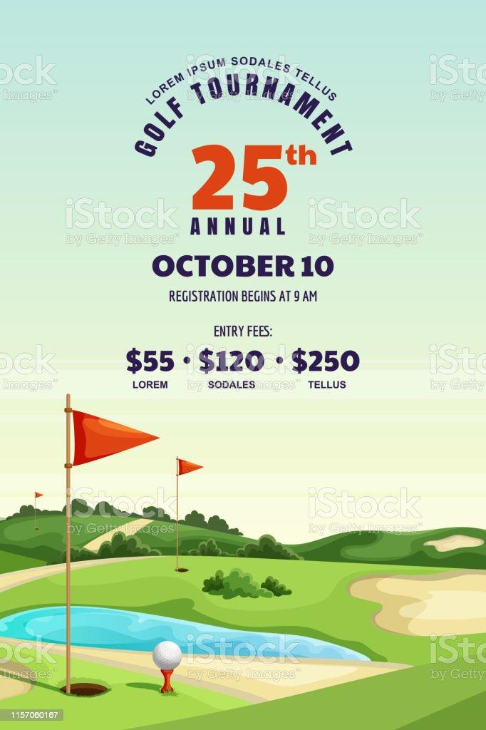 Golf Tournament Poster Banner Design Template Vector Illustration Of Golf Course Summer Landscape Background Stock Illustration Download Image Now Istock