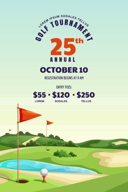 ilustrações de stock, clip art, desenhos animados e ícones de golf tournament, poster, banner design template. vector illustration of golf course. summer landscape background - golf