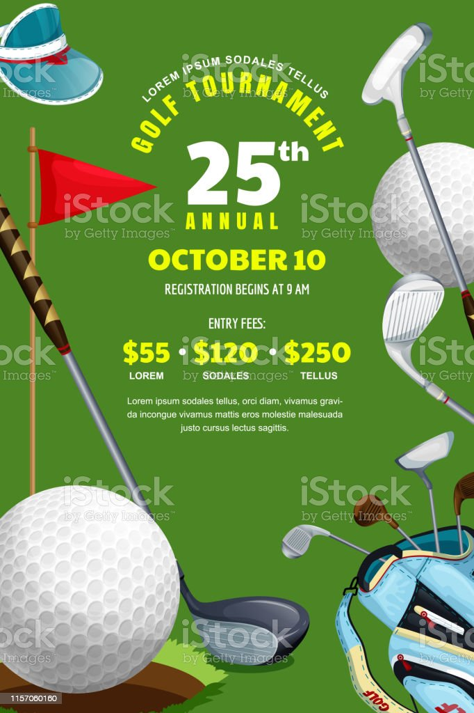 Golf Tournament Poster Banner Design Template Vector Illustration Ball Bag With Golf Clubs On Green Background Stock Illustration Download Image Now Istock
