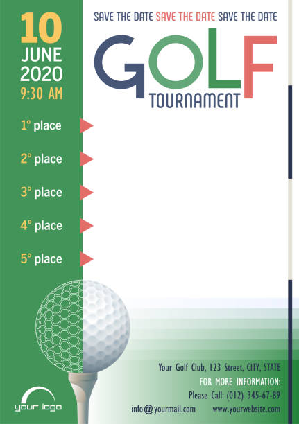 stockillustraties, clipart, cartoons en iconen met golf toernooi poster sjabloon. - kampioenschap