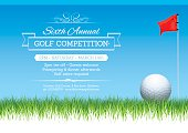 Golf tournament poster showing golf ball and flag sitting on grass.
