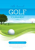 Golf poster for a golf competition. Four golfers play golf on a golf course with blue sky in the background. Gradient mesh used. Global colours.