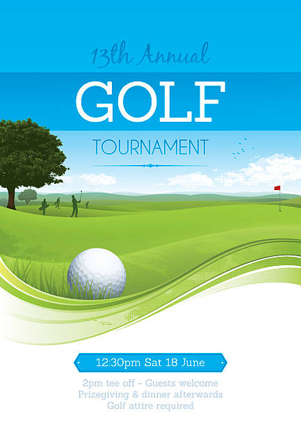 ilustrações, clipart, desenhos animados e ícones de torneio de golfe de cartaz - golfe