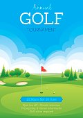 Poster for a golf tournament. Text on different layer.