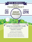 Golf Tournament Template With Golf Course background. There is room for text with details the event. Ideal for a golf course fundraiser or advertisement.