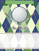 Golf Tournament Template With Golf Ball and Argyle Patterned Base. There is room for text with details the event. Ideal for a golf course fundraiser or advertisement.