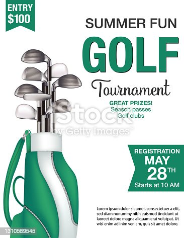 istock Golf Tournament Template With Bag andClubs 1310589545