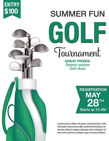 Golf Bag Tournament template with sample text. Text is on its own layer for easy removal. Several layers for easier editing. Elements can be released form clipping mask to rearrange.