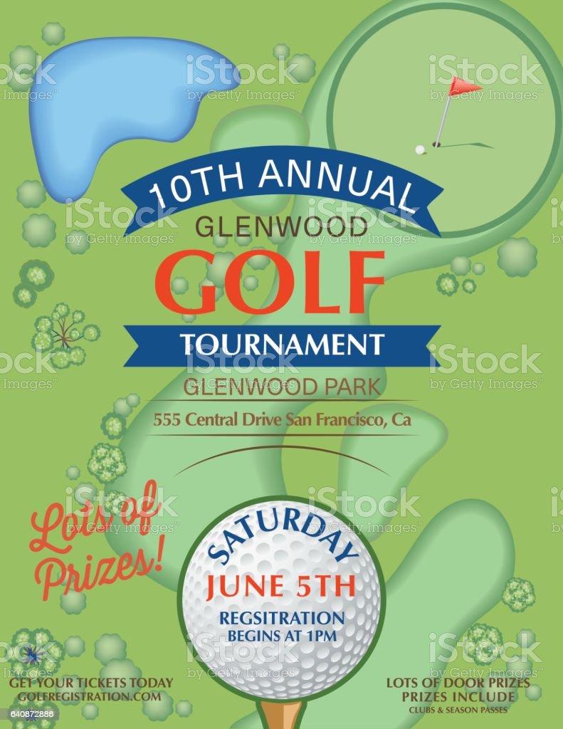 Torneo De Golf Plantilla Con Putting Green Y De Bandera ...