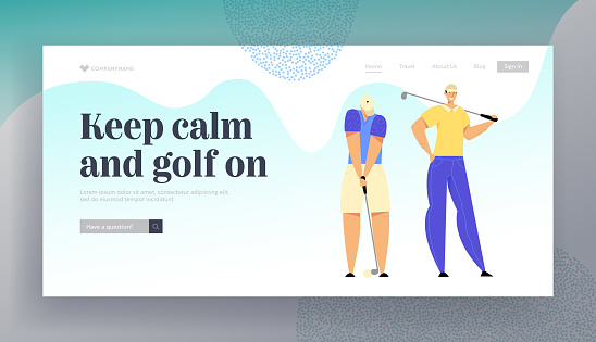 Golf Tournament Website Landing Page, People Playing Sport Game Using Professional Equipment, Man Hitting Ball to Hole, Summer Sparetime, Recreation Web Page. Cartoon Flat Vector Illustration, Banner