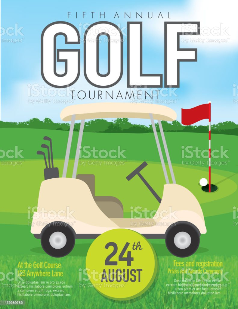 Golf tournament with golf cart invitation design template on green golf tournament with golf cart invitation design template on green royalty free stock vector art stopboris Images