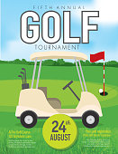 Vector illustration of golf tournament invitation layout or poster advertisement design template. Green, dark gray color scheme.  Includes sample text design elements and golf green, golf course and golf cart background. Perfect for golf outing, tournament, golf course advertisement poster and charity sporting event. See my portfolio for other invitations and golf concepts.