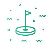 Golf icon shape with outline vector illustration. Concept line icon for social media, networking, marketing, social media campaign etc.