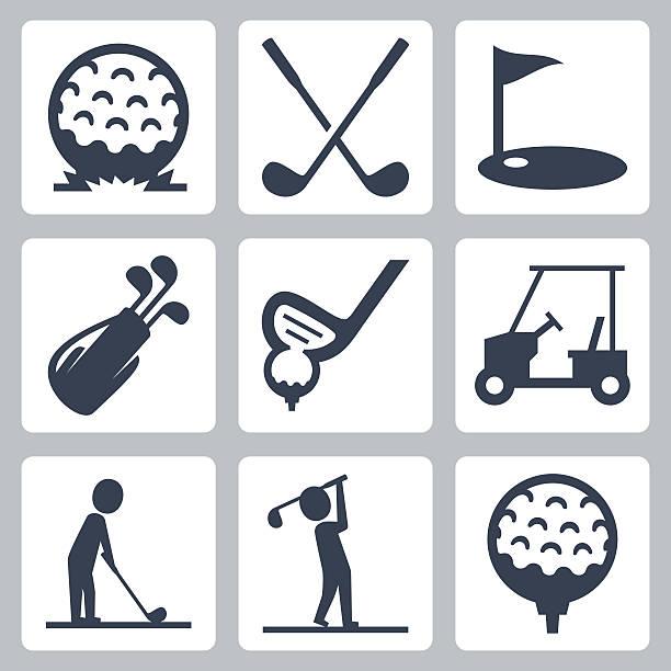 Golf vector icons set Golf vector icons set golf icon stock illustrations