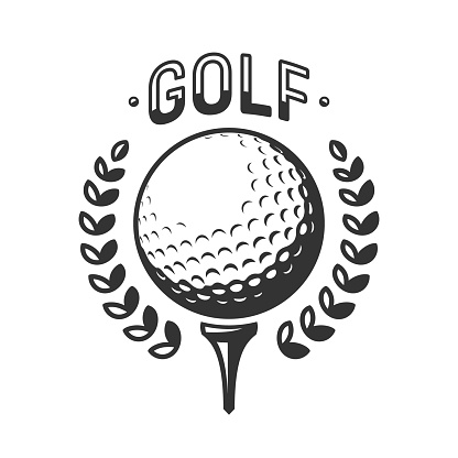 Golf vector logo. Golf ball on tee with wreath. Vector illustration, isolated on a white background