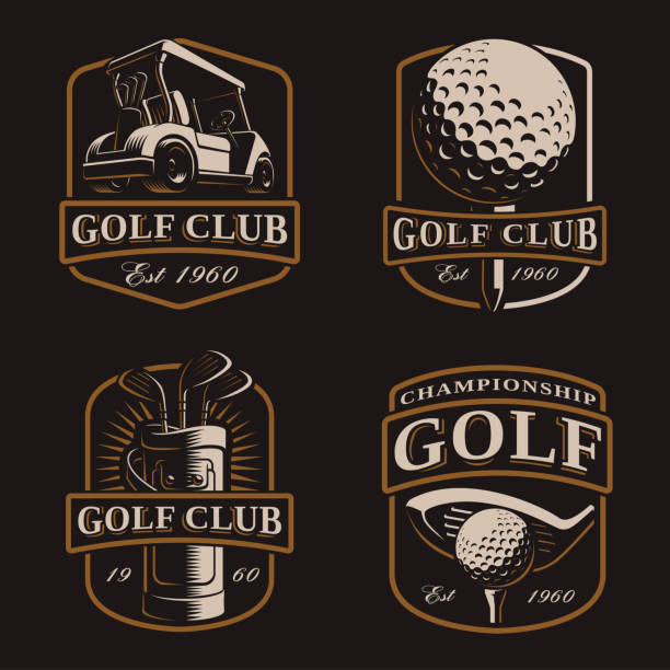 Golf vector set on dark background Golf vector set with vintage icons, bages, emblems on dark background. Text is on the separate layer. golf logo stock illustrations