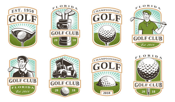 Golf vector set (12 icons) Golf vector set with vintage icons, badges, emblems on white background golf logo stock illustrations
