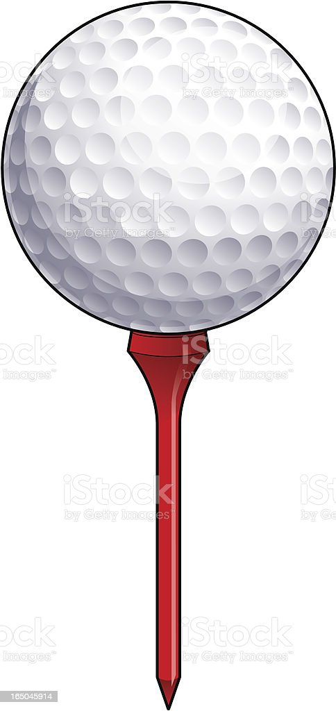 Golfball on a Tee royalty-free stock vector art