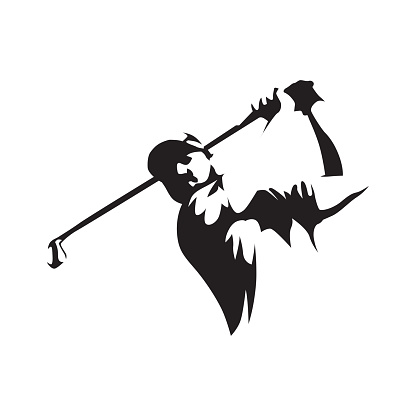 Golfer abstract silhouette, front view. Golf logo